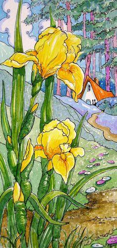 Yellow Iris Storybook Cottage art print from Original Flower Painting  Alida Akers