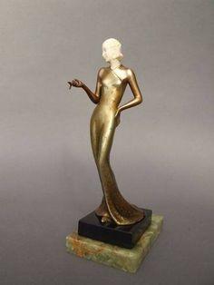 Art Deco Chryselaphantine Lady by Josef Lorenzl, Austria ca.1920