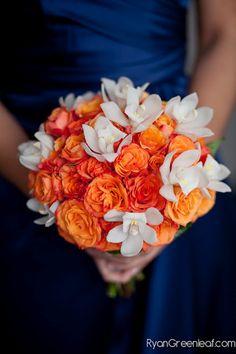 Orange and White Bridesmaid Flowers