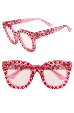 Free shipping and returns on Gucci 49mm Crystal Heart Sunglasses at Nordstrom.com. Ruby-hued crystal hearts stud the bold, boxy cat-eye frames of delightfully rosy sunglasses crafted in Italy.