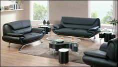 Shop black leather Sofa + Loveseat + Chair with great price, The Classy Home Furniture has the best selection of to choose from Leather Sofa And Loveseat, Black Leather Sofas, Black Sofa, Loveseat Sofa, Sleeper Sofa, Home Furniture, Outdoor Furniture Sets, Leather Living Room Set, Living Room Sets