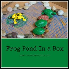 Frog Pond In a Box - Plain Vanilla Mom ** use these materials in a sensory box - more small rocks or pinto beans - tp tube logs as well Creative Arts And Crafts, Diy Crafts For Kids, Projects For Kids, Toddler Play, Toddler Preschool, Spring Activities, Preschool Activities, Sensory Boxes, Sensory Tubs