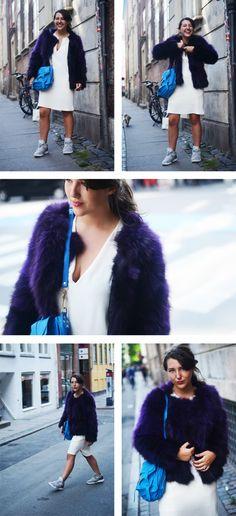 Fur: Saks Potts / Dress: Filippa K / Shoes: Reebok Pumps / Silver Jewellery: Clan of DK / Bag: Proenza Schouler