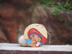 Hand painted Nativity mini Xmas ornament Holy Mother by angelicon