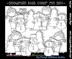 Color Yourself [Whimsical Inklings by Cheryl] - Snowman Kids.Color YourselfMade in 300 dpi for excellent printingArtwork by: Cheryl Seslar White Image, Coloring For Kids, Digital Stamps, Xmas Cards, Line Art, Snowman, Craft Supplies, Image Graphic, Whimsical