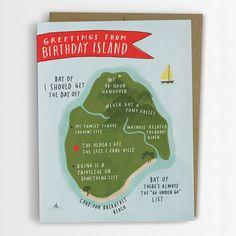 Birthday Island  Birthday Card 137C por emilymcdowelldraws en Etsy, $4.50