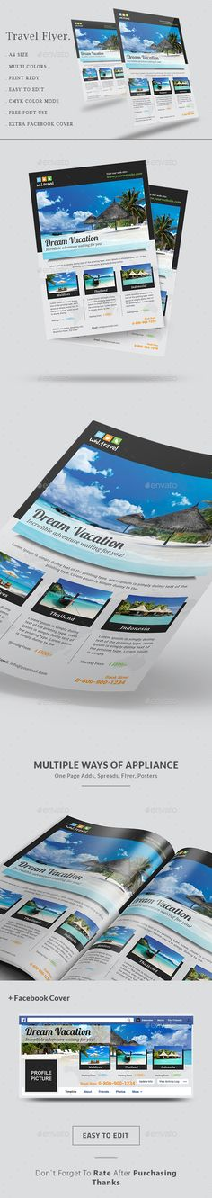 Travel Agency Flyer, is perfect for travel agencies, travel Distribution, travel Photographers, tour agencies, holiday planners who wants to present their holiday packages and plans in an elegant and organized manner. This template is well organized and structured.