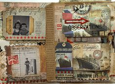 Tim Holtz Family Folio Tutorial, pg. 4 ~ All of the vintage cards and embellishments look so authentic that it's hard to tell the real ephemera from the repros!