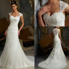 Free Shipping Elegant A-line Cap Sleeve Draped Closed Back Wedding Dress US $158.00