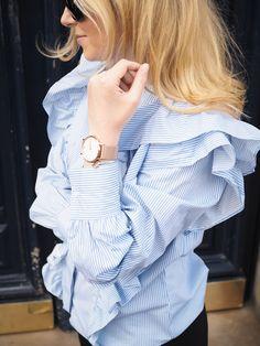 Wearing frill shirt & Paul Hewitt rose gold watch Frill Shirt, Trendy Fashion, Womens Fashion, School Fashion, Summer Wardrobe, Spring Summer Fashion, Spring Style, Passion For Fashion, Gold Watch