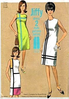 Womens Mondrian Mod Shift Dress Color Block Simplicity 6394 Misses Vintage Sewing Pattern Size 12 Bust 32 Moda Vintage, Vintage Mode, Vintage Style, Vintage Outfits, Robes Vintage, Vintage Dresses, Sixties Fashion, Mod Fashion, Vintage Fashion