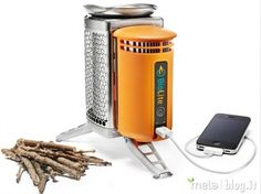 The Biolite Camping Stove Never run out of battery on your next camping trip. With the Biolite camping stove, you can charge your mobile device by simply burning wood in the stove. Here is a video of Biolite camping stove in action. Auto Camping, Camping Stove, Camping Gear, Camping Hacks, Camping Equipment, Camping Essentials, Camping Outdoors, Camping Survival, Survival Stove