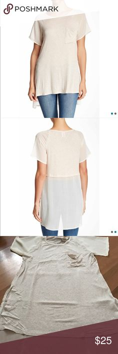 Bobeau Tunic NWT. Gorgeous top! Tunic length with sheer sleeves and back panel. Color: Oatmeal. Sizes S-L. bobeau Tops Tees - Short Sleeve