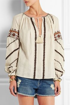 Talitha|Embroidered woven cotton blouse|NET-A-PORTER.COM