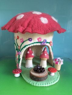 TOADSTOOL HOUSE** Pure wool FELT **Steiner Toys** Felt Toys**Birthday gift**Waldorf Toys**Steiner Dolls**Waldorf Craft**Everything Included