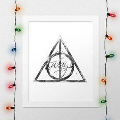 DEATHLY HALLOWS PRINT, Deathly Hallows Symbol Print, Hogwarts Print, Harry Potter, Deathly Hallows, Magic, Watercolor, Nursery, Digital File by xNoxyArt