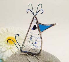 Blue Confetti Scrappy Bird Stained Glass Bird