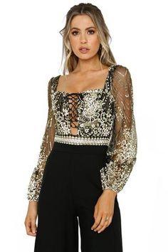 Chic Black Sheer Long Sleeve Princess Rhinestone Her Fashion Bodysuit   womensfashion  bodysuit  tops 77fdf4244