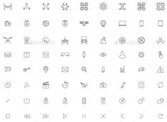 Flying Drone, Camera Vector Icon Set — Vector EPS #remote #radar • Available here → https://graphicriver.net/item/flying-drone-camera-vector-icon-set/11438629?ref=pxcr