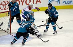 San Jose Sharks goaltender Alex Stalock tracks the puck after making a save (March 2, 2015).