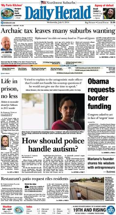 Daily Herald front page, July 9, 2014; http://eedition.dailyherald.com/
