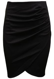 Black Wrap Pencil Skirt with Ruched Detail