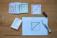 Přenášení obrázku na bodovou síť s návodem. Aktivita pro rozvoj vizuomotoriky. Labyrinths, Perception, Puzzles, Markers, Sharpies, Puzzle, Sharpie Markers