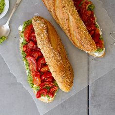 Slow-Roasted Tomato and Cilantro-Cashew Picnic Sandwich | http://saltandwind.com