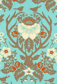 antler damask from deer valley collection fabric by joel dewberry