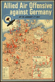 British poster map of the Allied aerial bombing of Germany up to January 1941. World War 2.