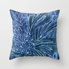 Pretty Dumgarees Throw Pillow by Vikki Salmela on Society6, #blue #denim #batik #tropical #garden #flowers #Indonesian #art on throw #pillows for #home #apartment #fashion #accessory #decor for #bedroom #gift #living room.