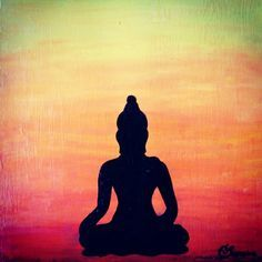#buddha #peace #meditation #tranquility #serenity #quietude #silhoutte #ombre #canvas #acrylic #painting