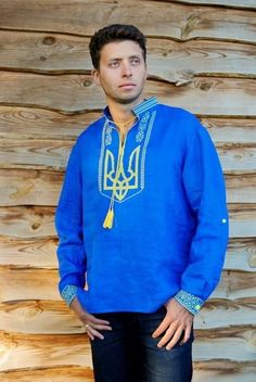 High quality linen (flax) shirt with real cross-stitch embroidery. Rollingup sleeves with plastic button tabs. The Tryzub is worn as a symbol of Ukrainian nat