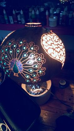 gourd lamp from grandmama gourd art..please vizit my page