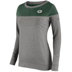 Nike Green Bay Packers Women s Gray Stadium Touchdown Long Sleeve Tee baaaa4e54
