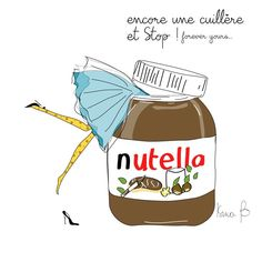 Nutella illustration Isma b - Homemade Nutella Recipes, Poster Print, Nutella Cookies, Illustration Mode, French Quotes, Food Humor, Cute Wallpapers, Cute Art, Funny Quotes