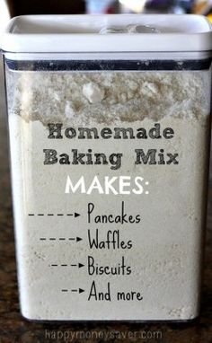 This quick and frugal Homemade Bisquick baking mix recipe will make a wide variety of recipes such as pancakes, waffles, biscuits and much more. Skip the big brand commercial made box mixes and keep this homemade baking mix on hand instead. A healthy homemade baking mix can save you money and time in the kitchen …