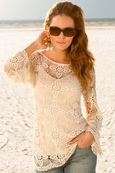 Crochet flare tunic. This is soooo sexy. It's lace and romance all in one:) Boston Proper my little chick a dees:)