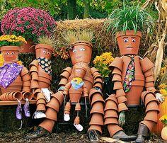 Family of Five, Clay Pots, Terra Cotta Pots, Pot People, Garden Art, DIY