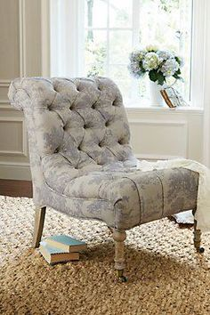 toile tufted back chair on sea grass rug=great combo