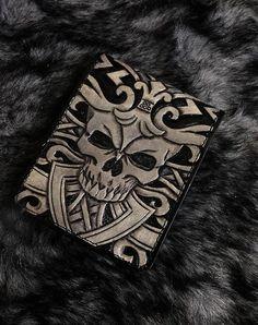 Antique skull mens Slim fit bifold biker wallet  genuine leather handmade BS02 #Handmade #Bifold
