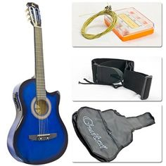 Electric Acoustic Guitar Cutaway Design With Guitar Case Strap Tuner Blue New -- Check out this great product.(It is Amazon affiliate link) #s4s
