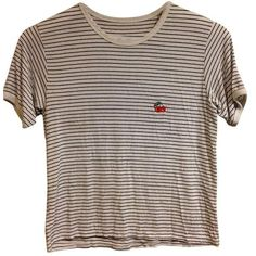 Brandy Melville Striped Cherries Ringer Tee T Shirt White Navy ($13) ❤ liked on Polyvore featuring tops, t-shirts, striped tees, navy and white stripe top, stripe tee, navy and white top and striped top