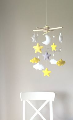 Baby mobile - cloud mobile - moon clouds mobile - yellow and gray mobile