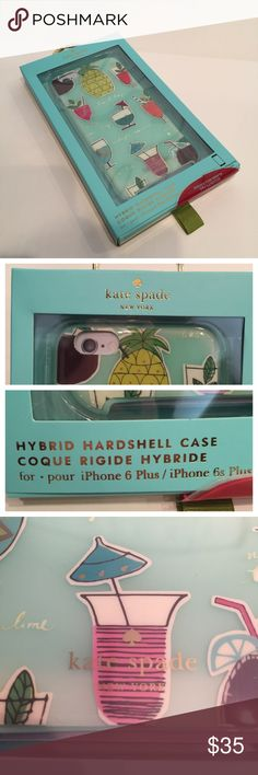 NIB! Kate Spade Hybrid iPhone 6+ case Brand New In Box! Hybrid 2 piece iPhone 6 case in light teal blue with summer drinks and a pineapple at the top. She makes great protective and yet fun cases! . Perfect for now or any time of the year. Just look down at your phone and you'll be happy and smiling . kate spade Accessories Phone Cases