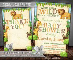 Safari Jungle Baby Shower Invitation, Safari Jungle Baby Shower Invite, Jungle Animals, Safari Animals, It's a Boy, #608 by PerfectPrintableCo on Etsy
