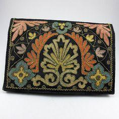 Art Deco Clutch Purse 1930s Purse Evening Purse Vintage Purse Fine Metalic Thread Embroidery Purse