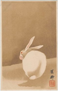 New Year's Card: White Rabbit on the Ground (from an unidentified series) Japanese, Late Meiji era Artist Unidentified Rabbit Illustration, Illustration Art, Animal Illustrations, Botanical Illustration, Illustrations Posters, Year Of The Rabbit, Art Asiatique, White Rabbits, Art Japonais