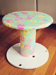DIY Spool Stool!  Easy and fun for kids or rustic side tables! For my girl & her tea parties.