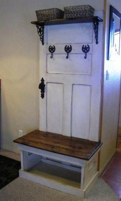 Rustic Hall Tree Bench Entrance Ways Rustic Hall Trees Door Rustic Hall Trees, Door Hall Trees, Hall Tree Bench, Old Door Bench, Rustic Windows, Rustic Entry, Furniture Projects, Home Projects, Diy Furniture